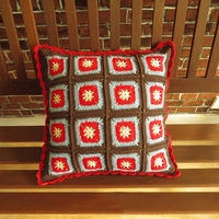 European Vintage Style Hand Made Crocheted Cushion Cover Colored Patchwork Woven Pillowcases for Sofa Chair Bedroom Decoration