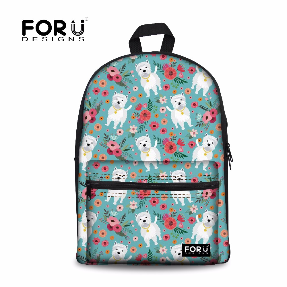 FORUDESIGNS Cute Westie Dog Printing Backpack Female Laptop Travel Backpacks for Girls P ...