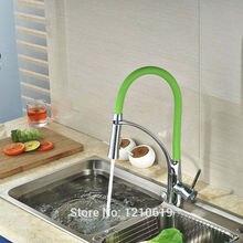 Недавно Pull Down Кухня Бассейна Кран Смесителя Хром Закончил w/Зеленый Раковина Кран на Одно Отверстие