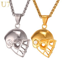 U7 Helmet Necklace Gold Plated Stainless Steel Pendant Chain For Men Ice Hockey Fitness Accessories Sport