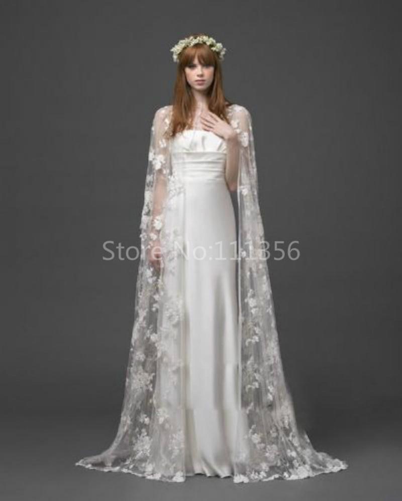 White ivory lace cloaks mantle wedding jacket long floor for Wedding dress lace jacket