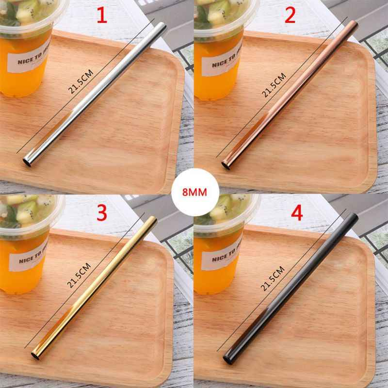 Metal Straw Straight Ecological Straw Stainless Steel Brush Food Grade Bar Accessories Health And Health High-End Tableware