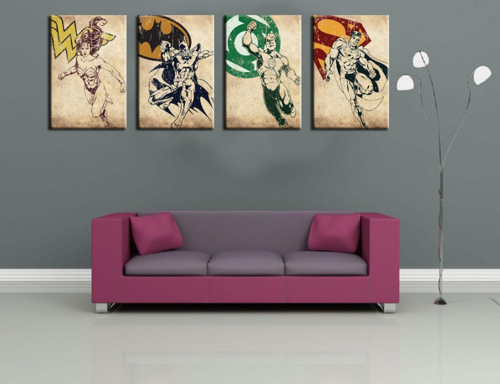 WOW 4 Superhero 2015 Hand Painted Oil Painting On Canvas 4pc Modern Abstract Wall Art Decor Set In Calligraphy From Home Garden