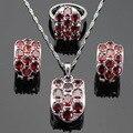 Ashley Enorme Criado Garnet Vermelho Conjuntos de Jóias de Cor Prata Para As Mulheres Pingente De Colar de Casamento Brincos de Argola Anéis Caixa de Presente Livre