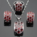 Ashley Huge Red Created Garnet Silver Color Jewelry Sets For Women Wedding Necklace Pendant Hoop Earrings Rings Free Gift Box