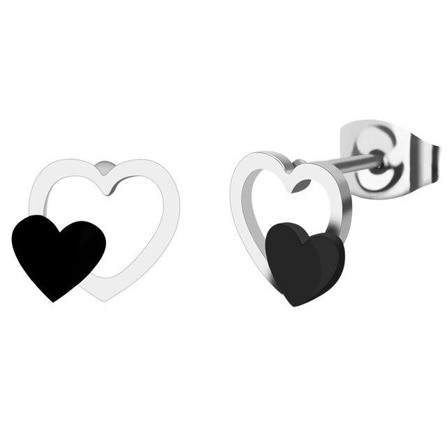 8 мм Китай модные серьги из нержавеющей стали ювелирные изделия в форме сердца серебряный и черный цвет гвоздики классические Kpop серьги для мужчин подарок