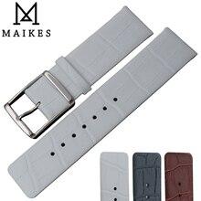 MAIKES Haute Qualité Bracelet Grain Alligator Véritable Cuir Bracelet de Montre De Bande Pour CK Calvin Klein K2Y211 K2Y2Y6 K2Y236