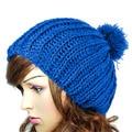 Pompon Hats 2016 Fashion New Winter Women Ladies Warm Wool Crochet Knitted Beanies Slouch Baggy Cap Fur Pom Pom Hat Bonnet femme