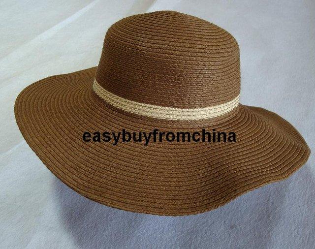 Cute Straw Sun Hat Beach Wide Brim Crushable Dark Brown 54cm 3 8