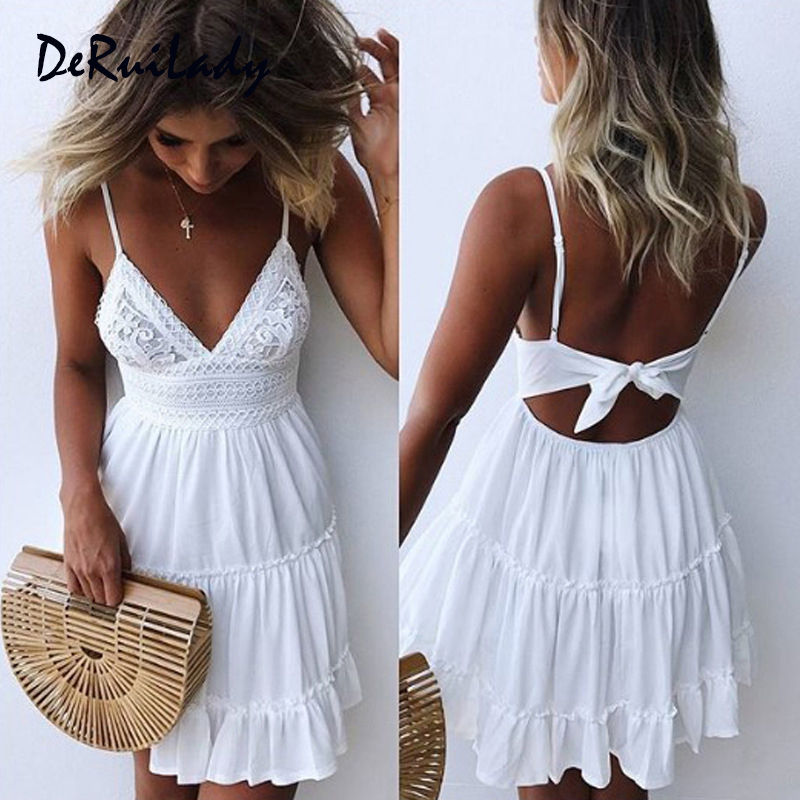 36da81e162312 DERUILADY mujeres arco Sexy backless vestidos de verano v-cuello corto  Beach Party Mini vestido Delgado bodycon vestido de encaje blanco femenino