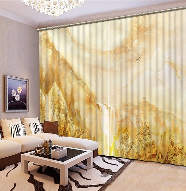 Natural Beautiful marble 3d curtain modern bedroom curtains custom ...
