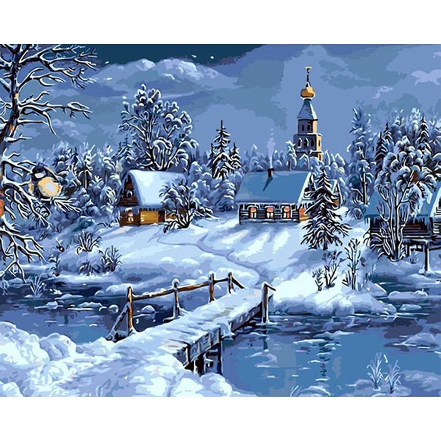 Vánoční sníh krajina DIY malba čísly ručně malované plátno jedinečné pro dekorace kresby