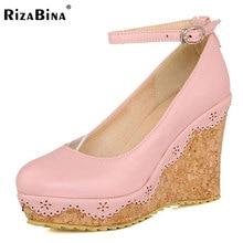 Rizabina женские туфли-лодочки на танкетке одноцветное Цвет лоскутное Ремешок на щиколотке модная обувь с пряжкой на платформе Дамская Повседневная обувь размеры 34–39