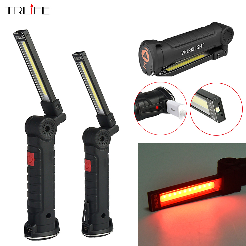 Foldable COB Work Light LED Flashlight Rechargeable Magnetic Inspection Lamp Flashlight Torch Built in Battery USB Charging Port 1 cob led 1 1w led work light 2 mode usb rechargeable flashlight magnetic portable spotlight torch built in battery lamp