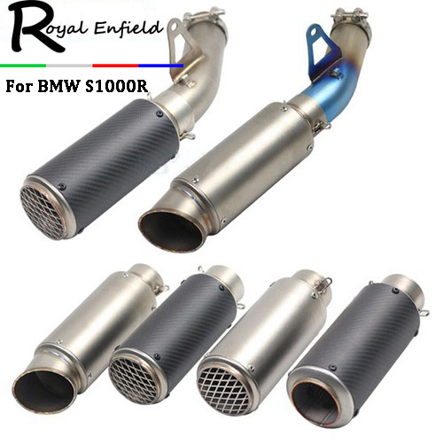 S1000R Street Motorcycle Exhaust Link Pipe Muffler Stainless Steel Carbon Fiber Exhaust Slip On Tube For BMW S1000R ice link carbon ставрополь