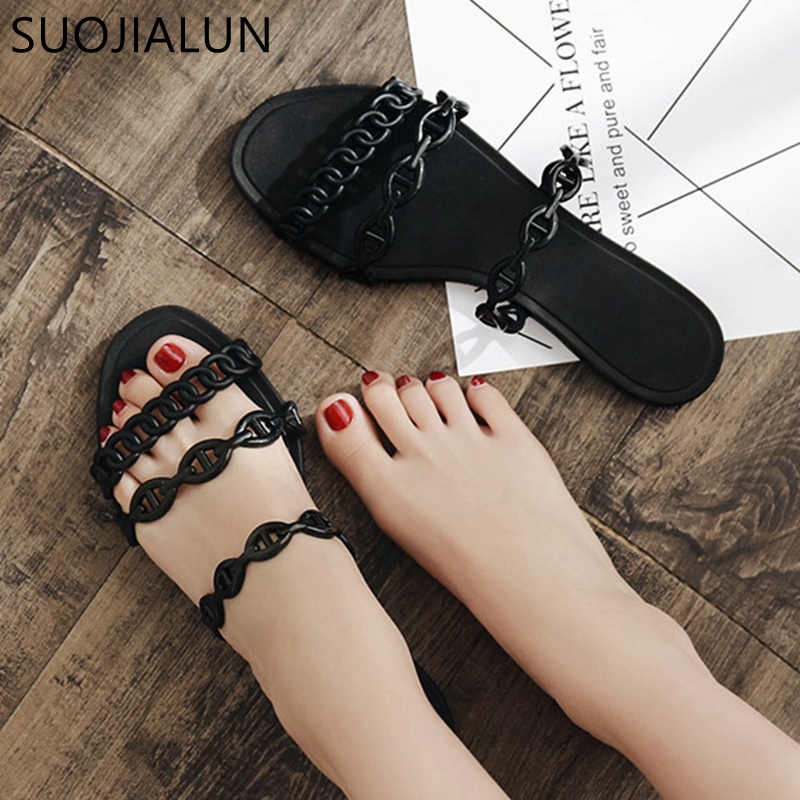 SUOJIALUN 2019 New Fashion Chain Slippers Sandals Open Toe Beach Flip Flops Women Summer Slippers Outside Date Flat Slides