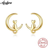 High Quality Real 14K Gold Earrings Simple Fashion Moon Cat Stud Earrings For Women Luxury Wedding Yellow Gold Jewelry