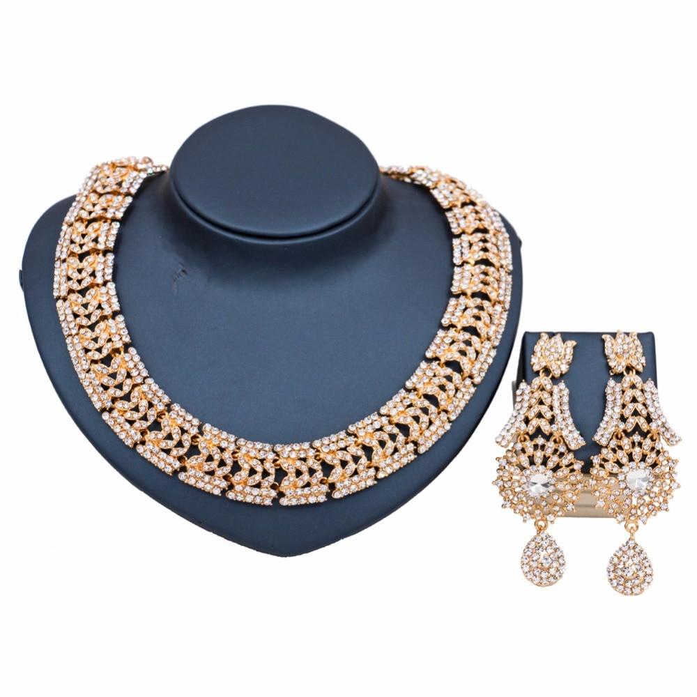 Haute qualité strass creux collier ensembles de bijoux pour les femmes africaines de mariage mariée fête cristal robe accessoires