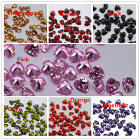 MRHUANG Shine!8*8MM Zirconia Stone 100pcs/pack Grade AAA Color CZ Cubic Heart Shape DIY Beads For earring ring Jewelry