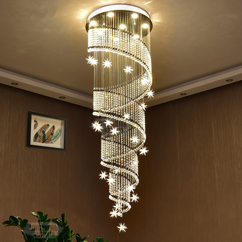 Us 350 0 30 Off Modern Led Living Room Crystal Suspended Lamps Hotel Hall Pendant Lights Stairs Fixtures Nordic Villa Hanging Lighting In