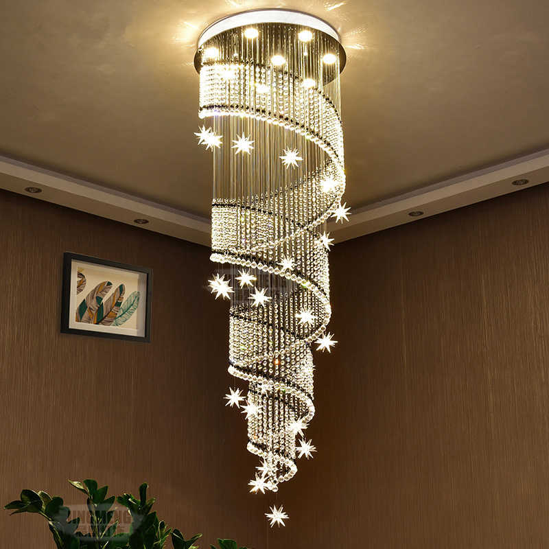 Led Living Room Crystal Suspended Lamps
