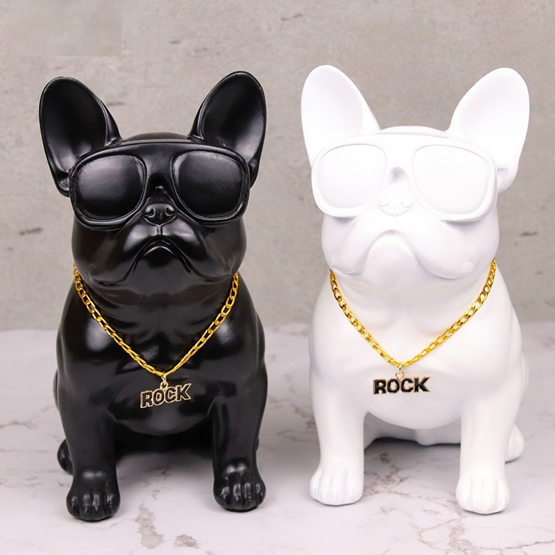 Hot Glasses Bulldog Creative Personality French Bull Dog Dog Resin Dog Ornaments Figurine Statue Artificial Best Gift R542