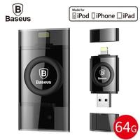 Baseus MFI 64 GB USB Flash Drive Cho iPhone 7 6 6 s Cộng Với 5 5 s se iPad Bút Drive Cho Sét U Đĩa HD Memory Stick OTG Pendrive