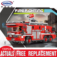New XINGBAO 03030 City Toys Series The Water Tank Fire Truck Set Blocks Bricks Building Educational Toys Model Gifts Funny DIY lepin 02102 city series the mining experts site set with dump truck 60188 building blocks bricks funny toys model kids gifts