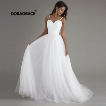 Doragrace New Fashion A Line Sweetheart Spaghetti Straps Ivory Wedding Dresses Beach Gowns
