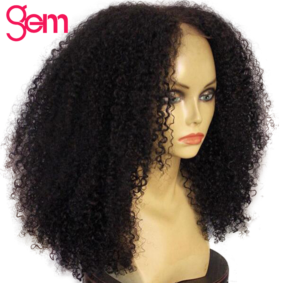 Kinky Curly Wig Lace Front Human Hair Wigs Pre Plucked For Black Women GEM Brazilian Remy Lace Front Natural Hair Wig