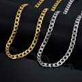 Hiphop Gold Chains For Men/Women Vintage Jewelry Collier 7MM Choker Gold Plated Stainless Steel Cuban Link Chain Necklace