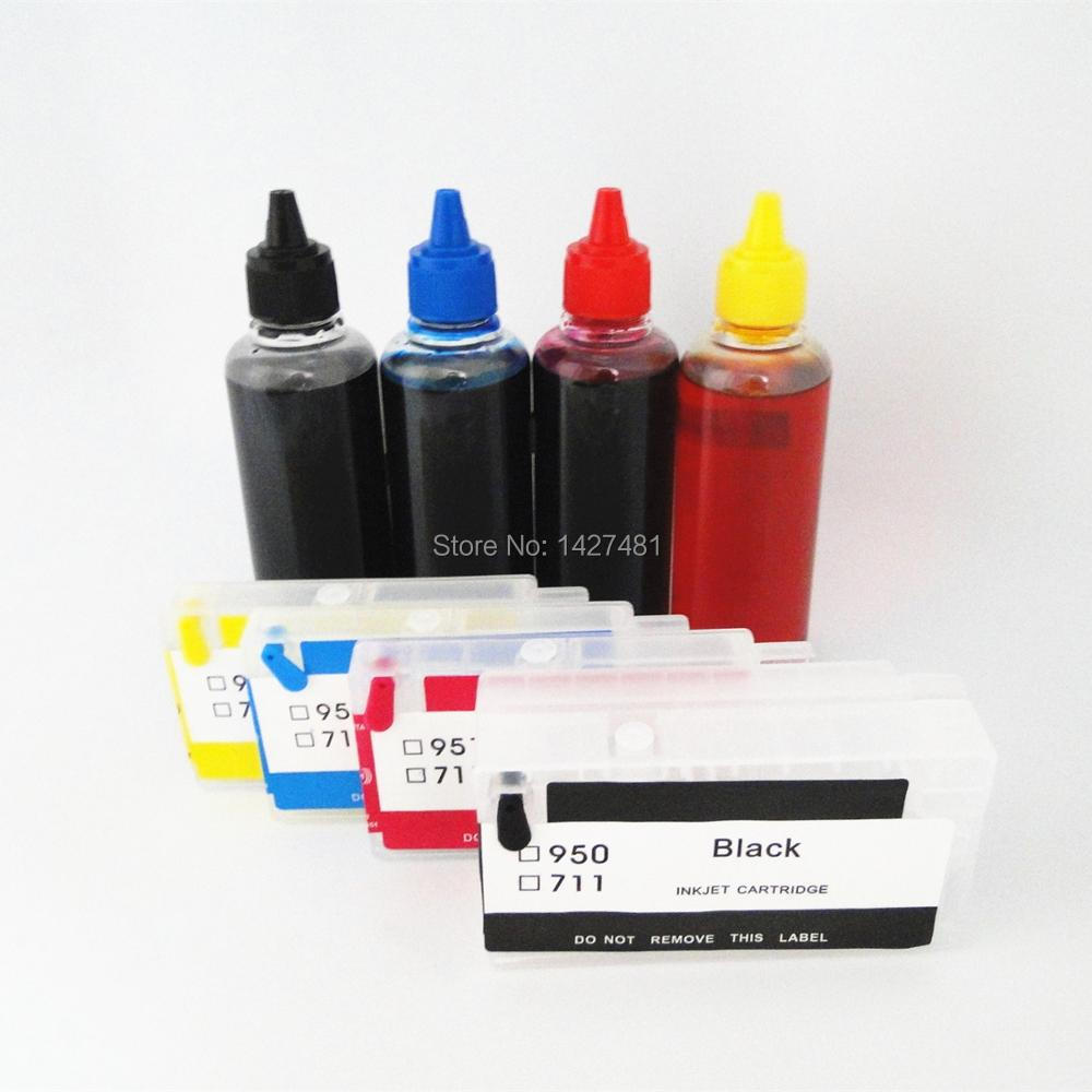 YOTAT YOTAT 400ml special dye ink + Refillable ink Cartridge For HP950 HP 950 HP951 Pro 8100 pro 8600 8680 8615 8625 with chip