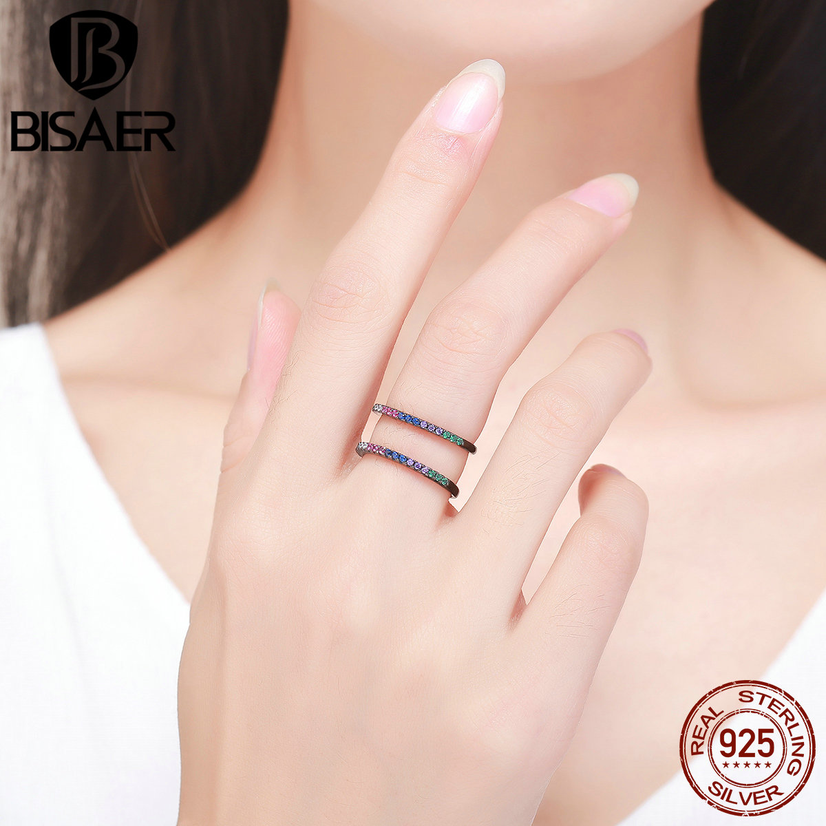 925 Sterling Silver Charming Black, Colorful CZ H Wheel Finger Rings ...