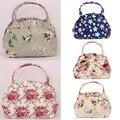Chegada nova Forma Das Mulheres Da Lona Floral Impressão Tote Shopping Bag Casual Feminino Bolsa Com Zíper
