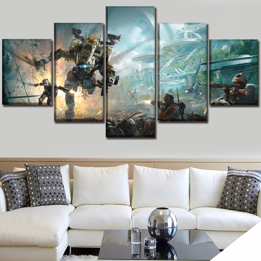 Titanfall 2 Game Paintings on Canvas Wall Art for Living Room Home Decor 5 Pieces The For Modern