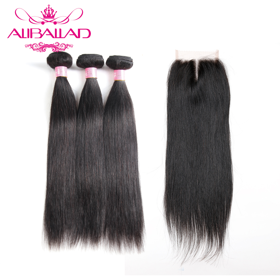Aliballad Brazilian Hair Weave Bundles With Closure 4x4 Inch Middle Part Non Remy Straight Human Hair