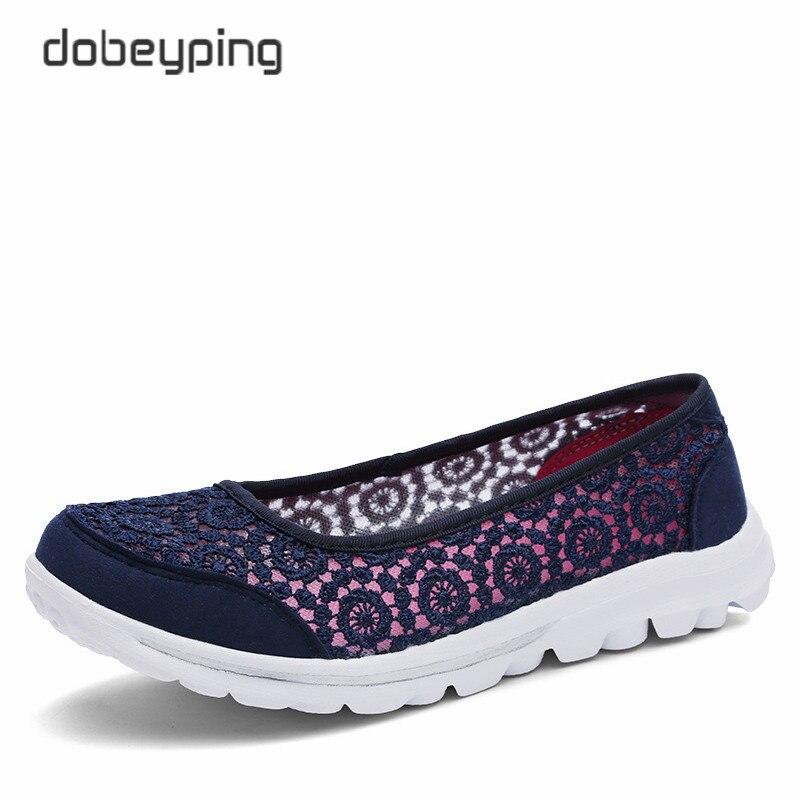 Las nuevas mujeres ocasionales Zapatos moda Encaje mujer Mocasines slip-on zapato femenino ultraligero madre calzado suave señoras verano zapatos