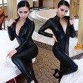 Hot Catwomen sexy Latex Zentai Catsuit de Cuero de Imitación Wetlook Mono Con Cremallera Frontal Suave Elástico Negro PU Completo Body Playsuit