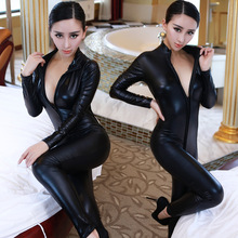 Hot Sexy Catwomen Faux Leather Latex Zentai Catsuit Smooth Wetlook Jumpsuit Front Zipper Elastic Black PU Full Bodysuit Playsuit