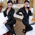 Hot Sexy Catwomen Faux Wetlook Jumpsuit Latex Zentai Catsuit de Couro Liso Com Zíper Frontal Preto Elástico PU Completa Bodysuit Playsuit