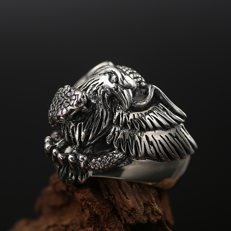 ZABRA Solid 925 Sterling Silver 25mm Punk Retro Eagle Big Ring for Men Vintage Thai Silver Process Gothic Ring Cool Men Jewelry solid silver 925 vajra pendant charms for necklace men real 925 sterling silver jewelry gothic punk style thai silver bijoux men