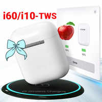 Pop-Up i60 TWS i10 TWS obsługa bezprzewodowego ładowania QI bezprzewodowe słuchawki Bluetooth 1:1 rozmiar oddzielnego użytkowania PK i30 i20 i12 TWS LK TE9