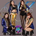 Super Star 2ne1 Palace Gold Sequins Paragraph Blue Jacket Tuxedo Costumes Bright Singer Outerwear Dancewear Performance Clothing