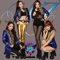 Super star palace 2ne1 oro lentejuelas azul párrafo chaqueta trajes de esmoquin cantante brillante prendas de vestir exteriores ropa rendimiento dancewear