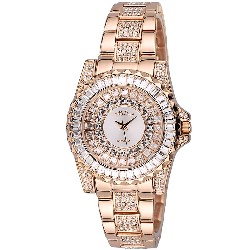 Melissa Lady Crystal Women's Watch Japan Mov't Fashion Dress Bracelet Rhinestone Luxury Crystal Party Girl's Birthday Gift Box цена