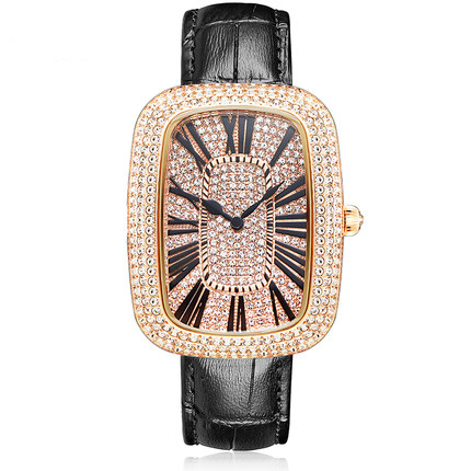 MATISSE Fashion Austria Crystal Squzre Dial Leather Watchband Office Fashion Women Girl Buiness Lady Quartz Wrist Watch