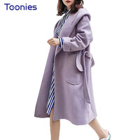 Solid Elegant Winter Coat Women Light Purple Hooded Wool Coat With Sashes Pockets Long Type Open