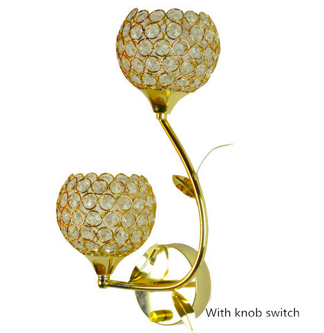 European crystal adjustable wall lamp double-head golden bedside/asile wall lamp with knob switch N1086-DK бумажник golden head портмоне 3331501