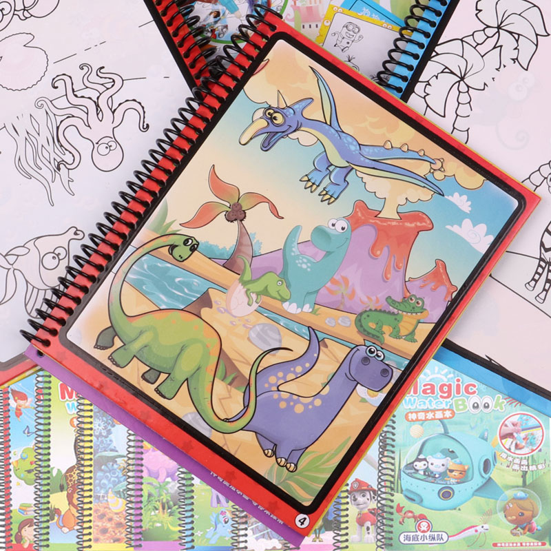 купить 9 Models Magic Water Drawing Book Coloring Book Doodle With Magic Pen Paint Drawing Board Cardboard Paper Kids Toys For Children недорого
