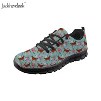 Jackherelook Women Mesh Sport Shoes Irish Setter Flower Printing Light Running Shoes for Teenager Girls Outdoor Lace Up Sneakers